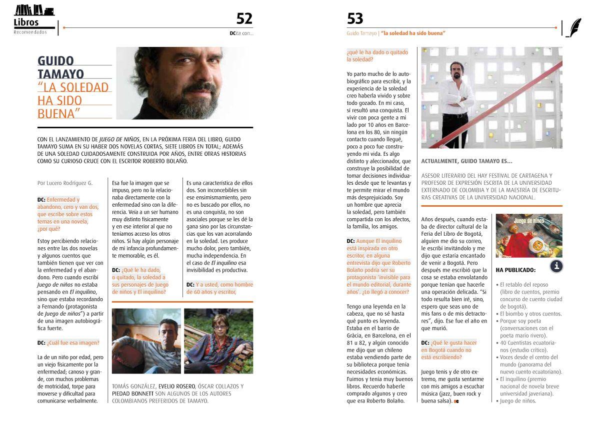 Entrevista con el escritor, Guido Tamayo, Revista DC